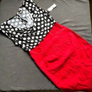 Polka Dot, Red Black and White Dress